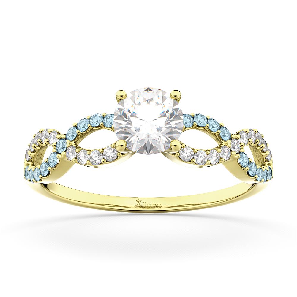 Infinity Diamond & Aquamarine Engagement Ring in 14k Yellow Gold (0.21ct)