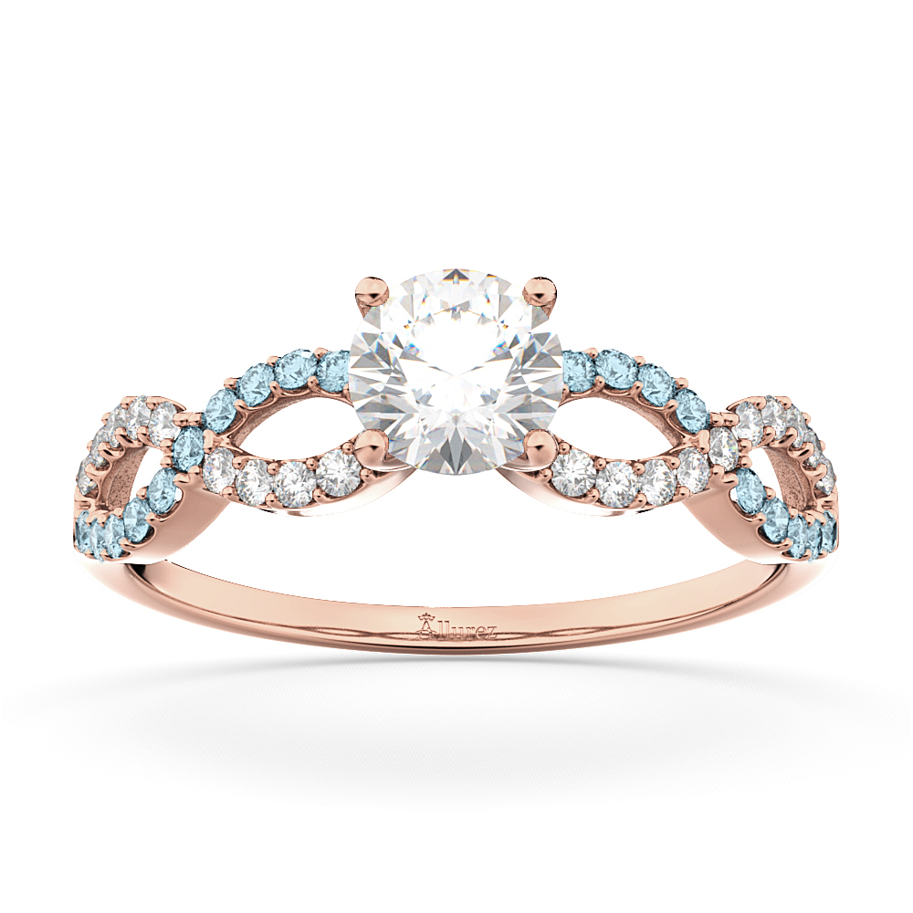 Infinity Diamond & Aquamarine Engagement Ring in 18k Rose Gold (0.21ct)