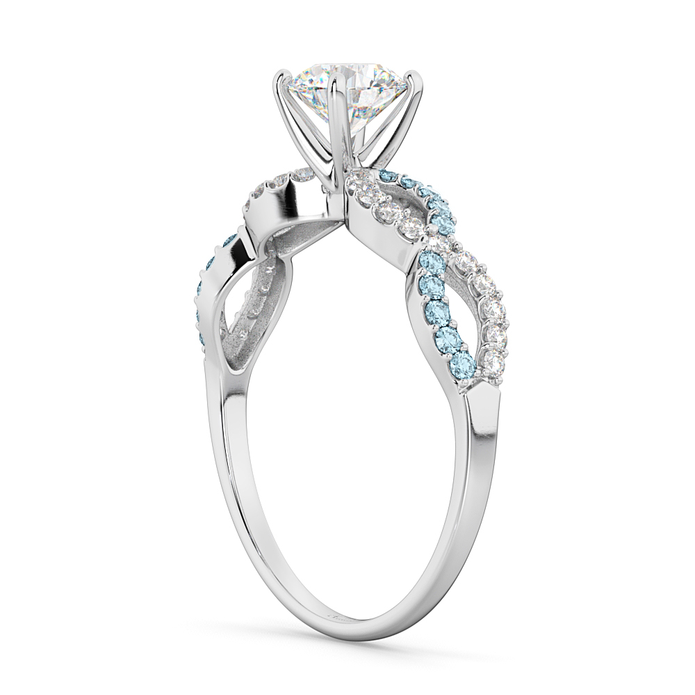 Infinity Diamond & Aquamarine Gemstone Engagement Ring Palladium 0.21ct