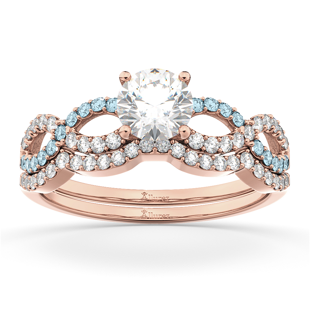 Infinity Diamond & Aquamarine Engagement Ring Set 14k Rose Gold 0.34ct