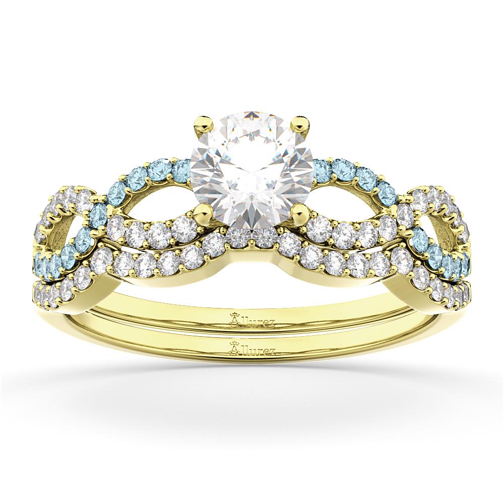 Infinity Diamond & Aquamarine Engagement Ring Set 18k Yellow Gold 0.34ct