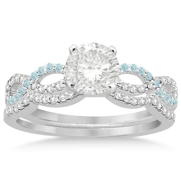 Infinity Diamond & Aquamarine Engagement Bridal Set in Platinum (0.34ct)