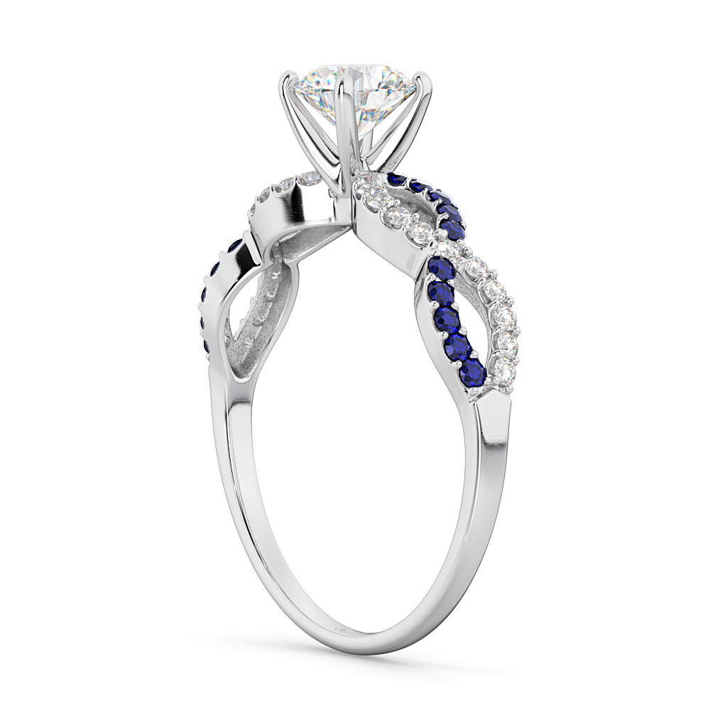 Infinity Diamond & Blue Sapphire Engagement Ring 14K White Gold 0.21ct
