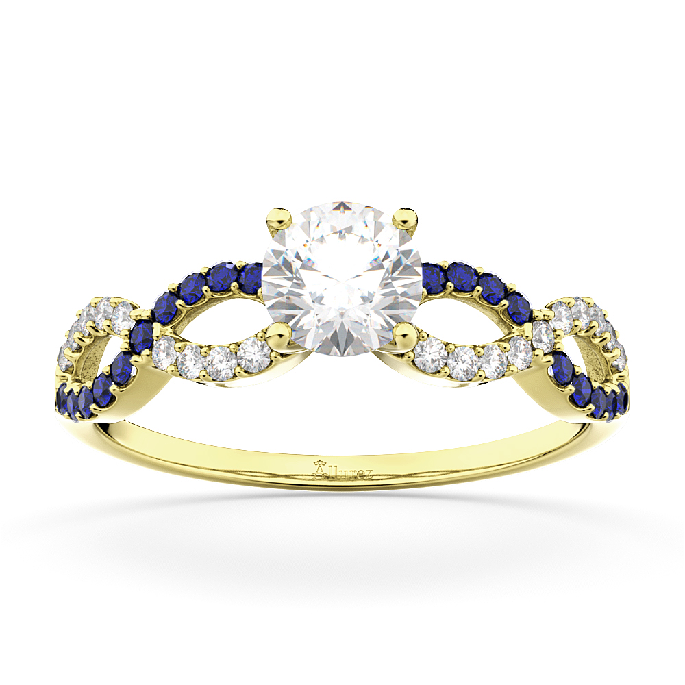 Infinity Diamond & Blue Sapphire Engagement Ring 14K Yellow Gold 0.21ct