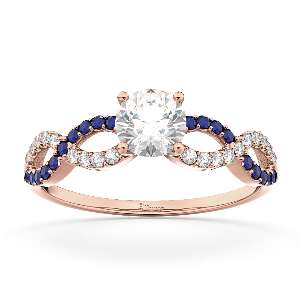 Infinity Diamond & Blue Sapphire Engagement Ring 18k Rose Gold 0.21ct