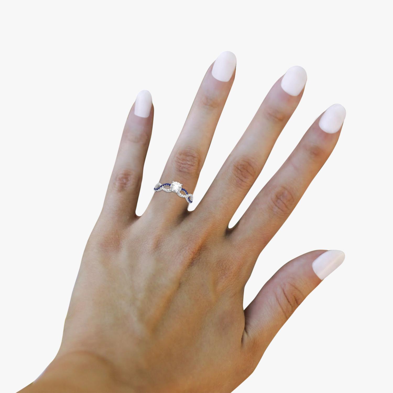 Infinity Diamond & Blue Sapphire Engagement Ring Platinum 0.21ct
