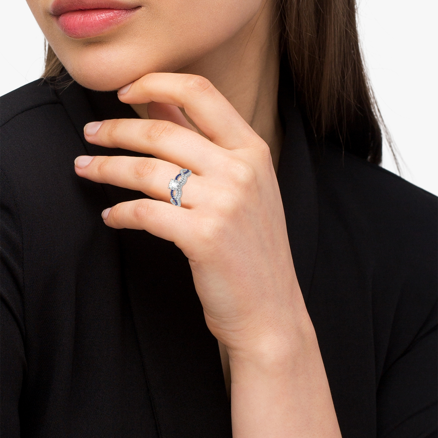 Infinity diamond blue sapphire bridal set 14k white gold for Infinity design wedding ring