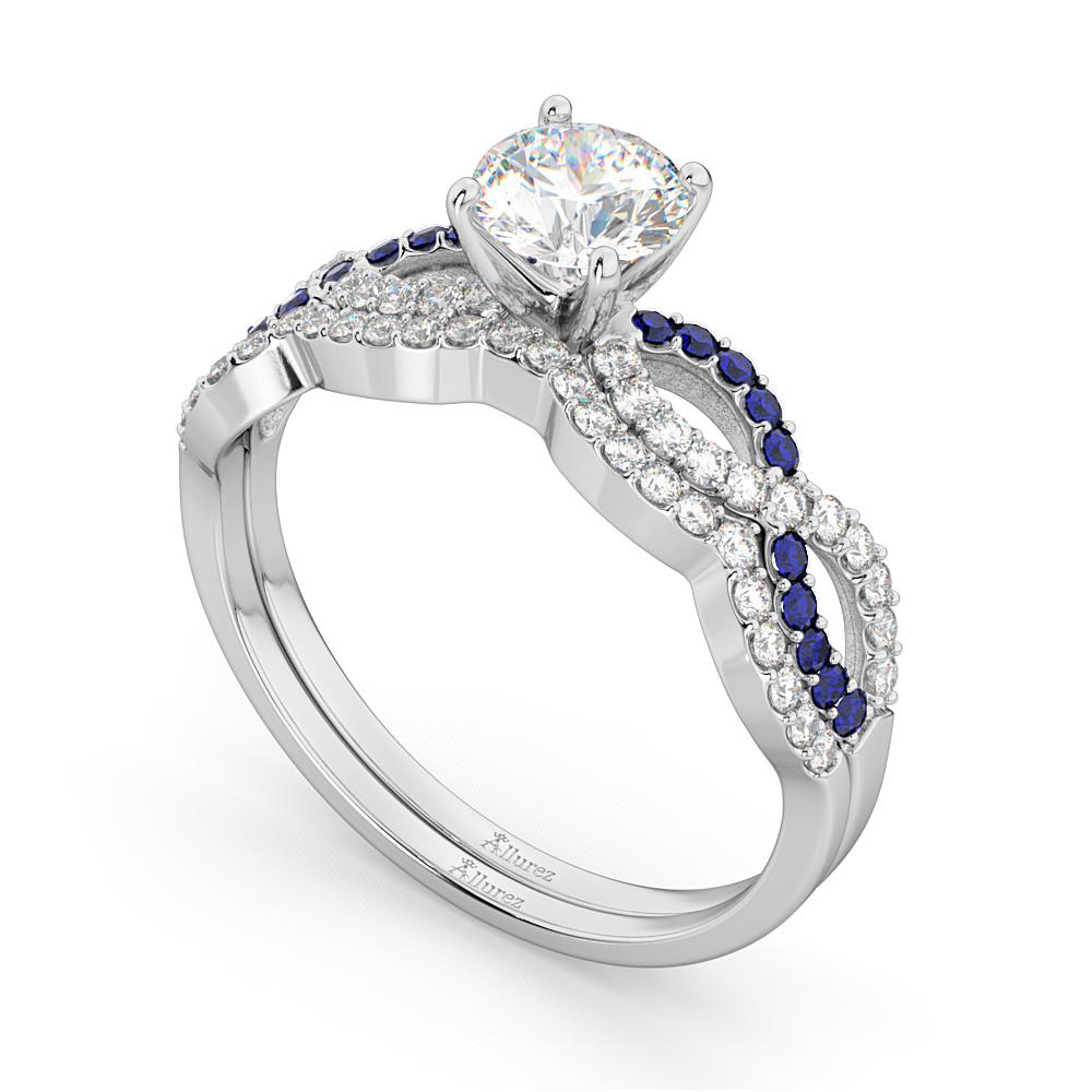 Infinity Diamond & Blue Sapphire Bridal Set 14K White Gold 0.34ct