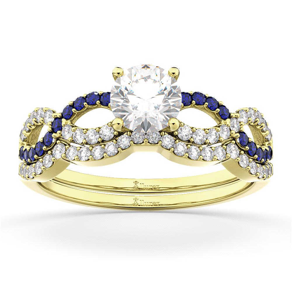 Infinity Diamond & Blue Sapphire Bridal Set in 14K Yellow Gold 0.34ct