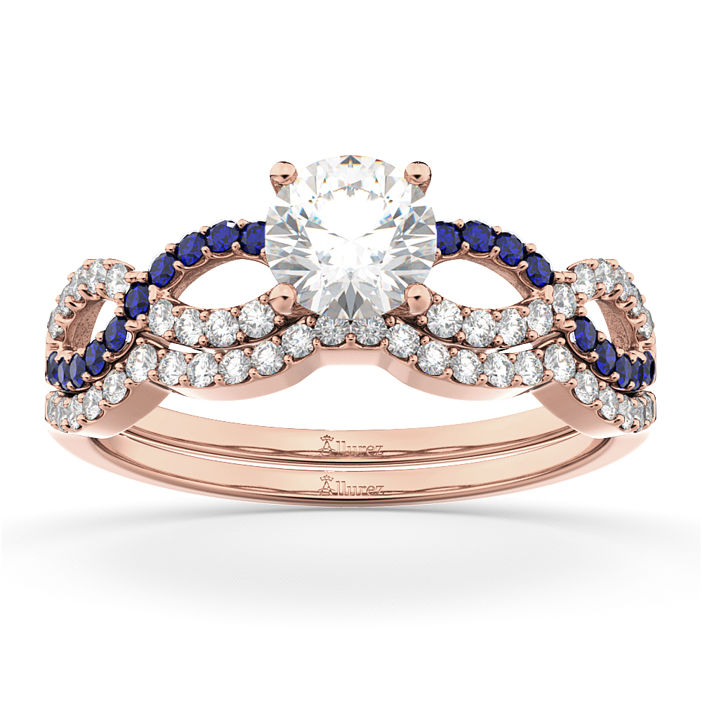 Infinity Diamond & Blue Sapphire Bridal Set in 18k Rose Gold 0.34ct
