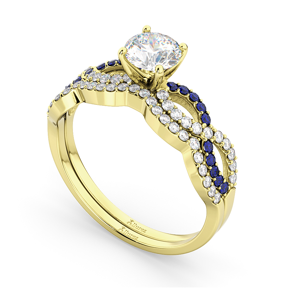 Infinity Diamond & Blue Sapphire Bridal Set in 18K Yellow Gold 0.34ct