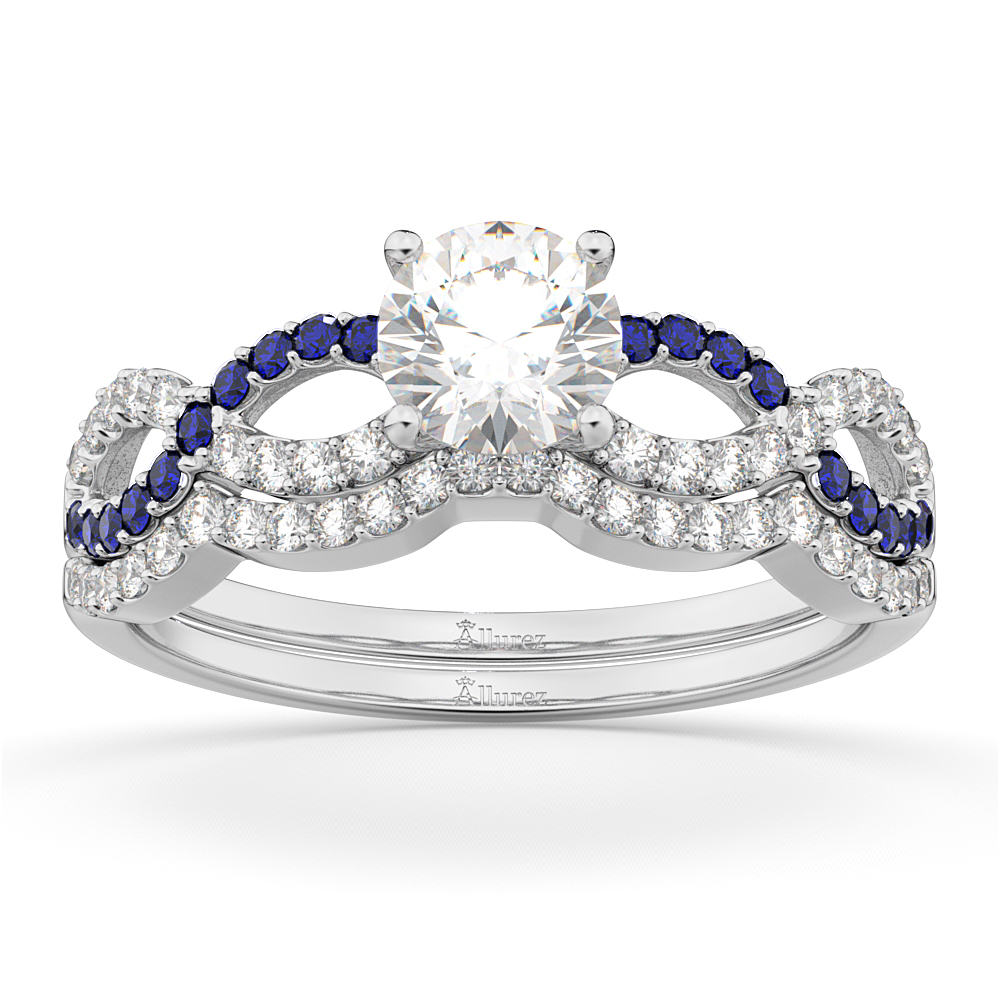 Infinity Diamond & Blue Sapphire Ring Bridal Set in Palladium 0.34ct