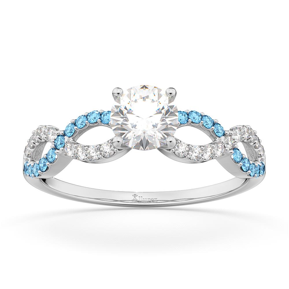 Infinity Diamond & Blue Topaz Gemstone Engagement Ring Platinum (0.21ct)