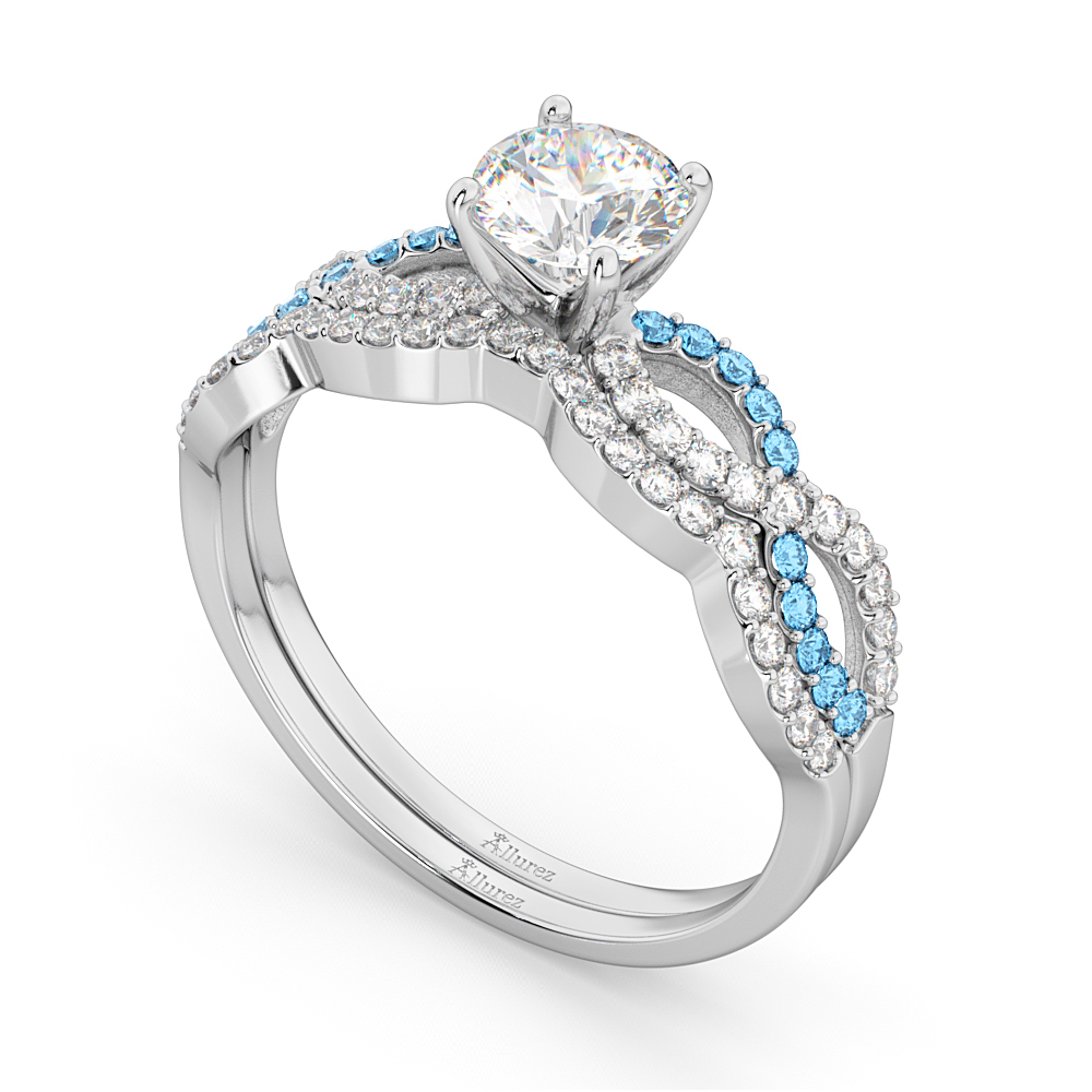 Infinity Diamond & Blue Topaz Engagement Ring Set 14k White Gold 0.34ct