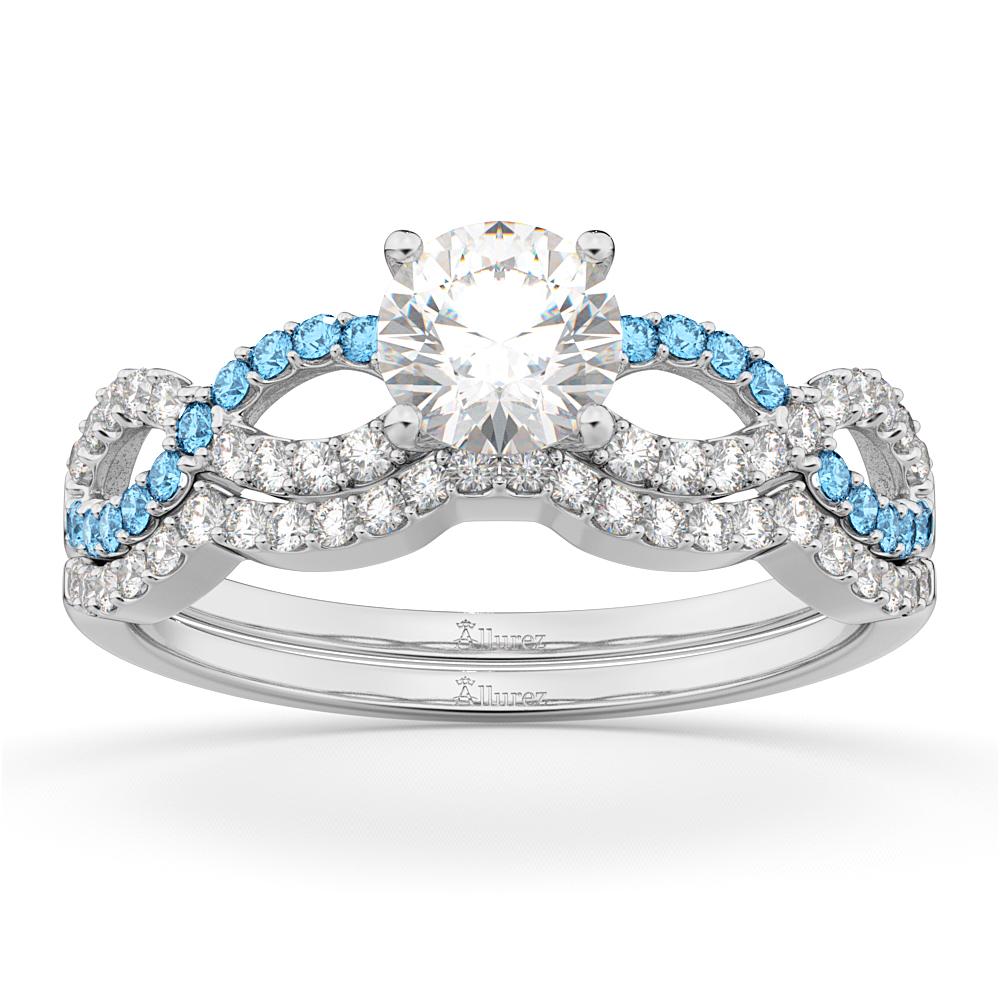 Infinity Diamond & Blue Topaz Engagement Bridal Set Palladium (0.34ct)