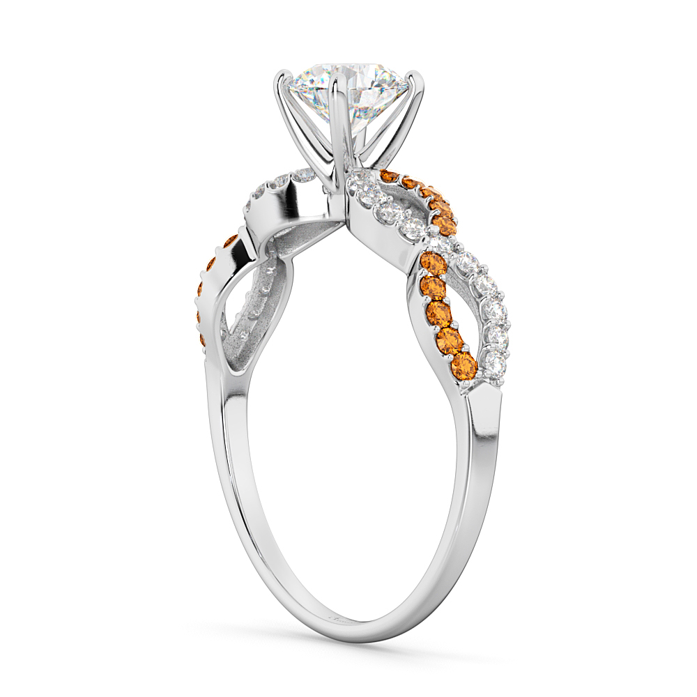Infinity Diamond & Citrine Gemstone Engagement Ring Palladium 0.21ct