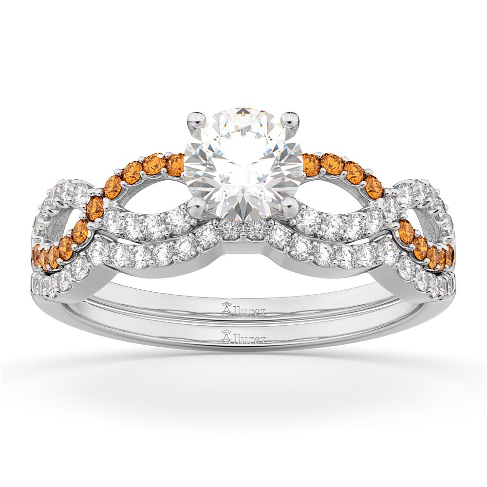 Infinity Diamond & Citrine Engagement Ring Set 14k White Gold 0.34ct