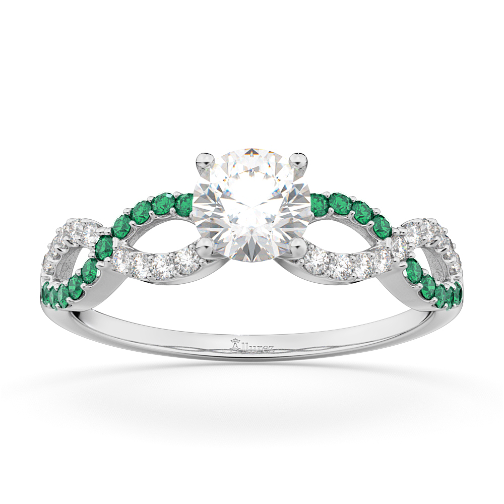 Infinity Diamond & Emerald Gemstone Engagement Ring Palladium 0.21ct