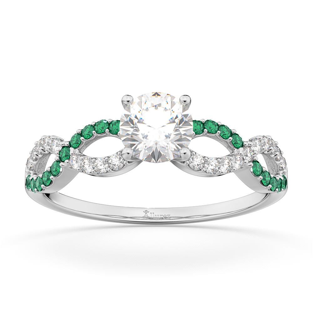 Infinity Diamond & Emerald Gemstone Engagement Ring Platinum (0.21ct)