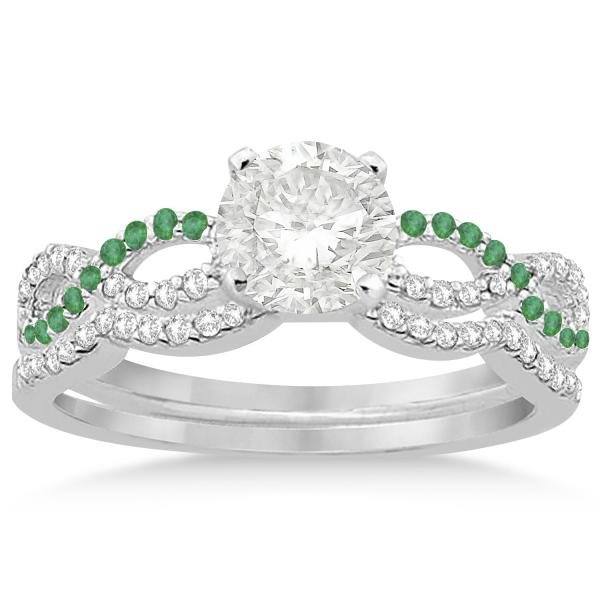 Infinity Diamond & Emerald Engagement Ring Set 18k White Gold 0.34ct