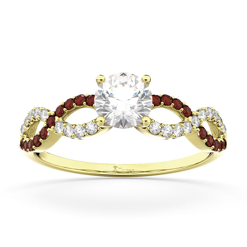 Infinity Diamond & Garnet Engagement Ring in 18k Yellow Gold (0.21ct)