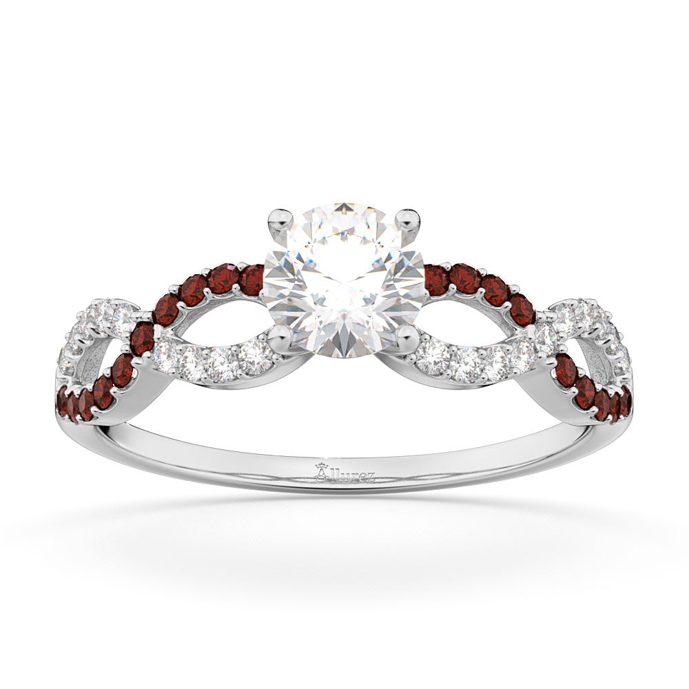 Infinity Diamond & Garnet Gemstone Engagement Ring Platinum (0.21ct)