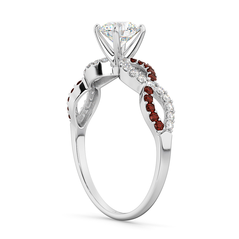 Infinity Diamond & Garnet Gemstone Engagement Ring Platinum (0.21ct)