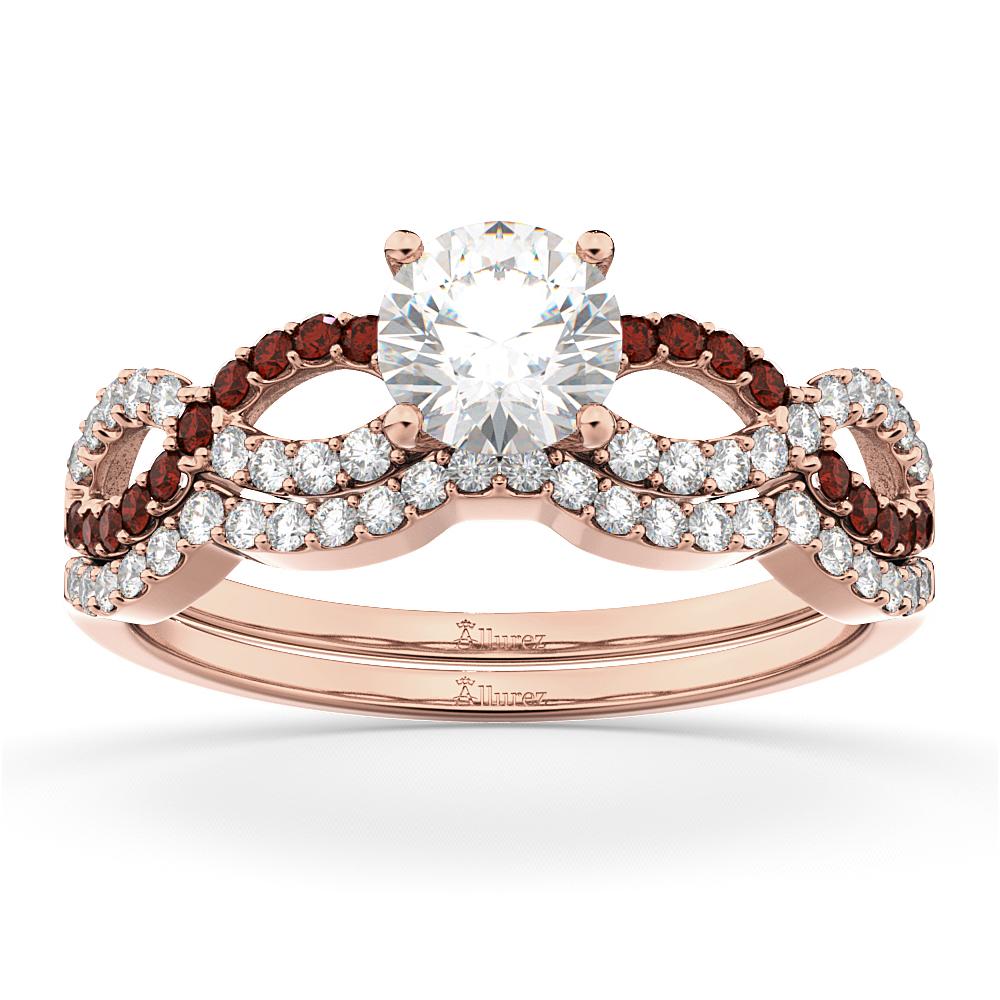 Infinity Diamond & Garnet Engagement Ring Set 18k Rose Gold 0.34ct