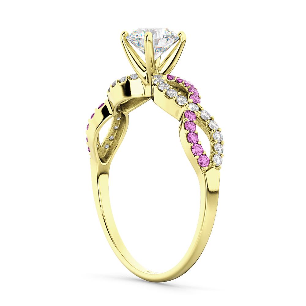 Infinity Diamond & Pink Sapphire Engagement Ring 14K Yellow Gold 0.21ct