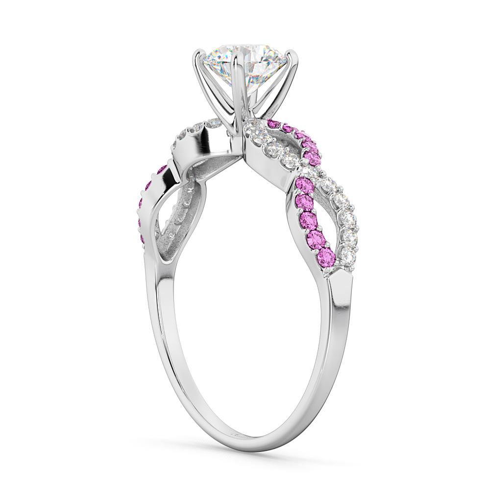 Infinity Diamond & Pink Sapphire Engagement Ring Palladium 0.21ct