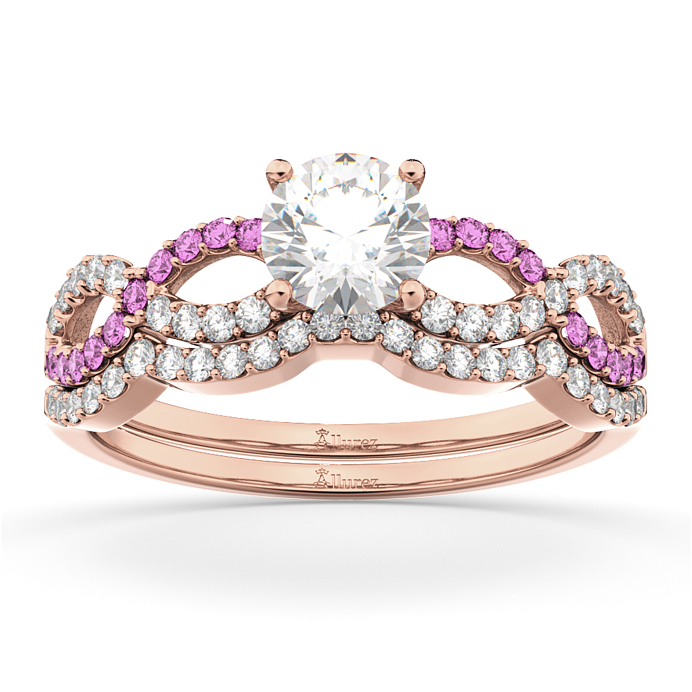 Infinity Diamond & Pink Sapphire Bridal Set in 18k Rose Gold 0.34ct