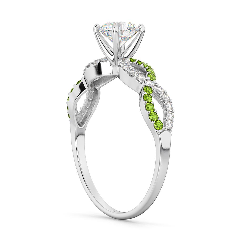 Infinity Diamond & Peridot Gemstone Engagement Ring Palladium 0.21ct