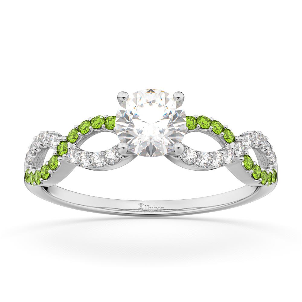 infinity diamond peridot gemstone engagement ring. Black Bedroom Furniture Sets. Home Design Ideas