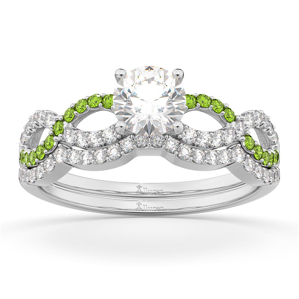 Infinity Diamond & Peridot Engagement Ring Set 14k White Gold 0.34ct