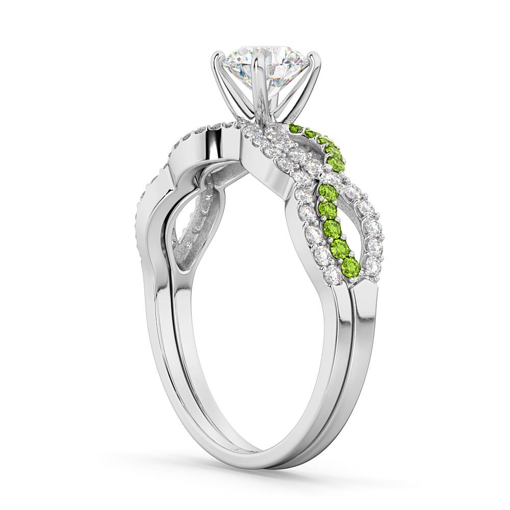 Infinity Diamond & Peridot Engagement Ring Set 18k White Gold 0.34ct