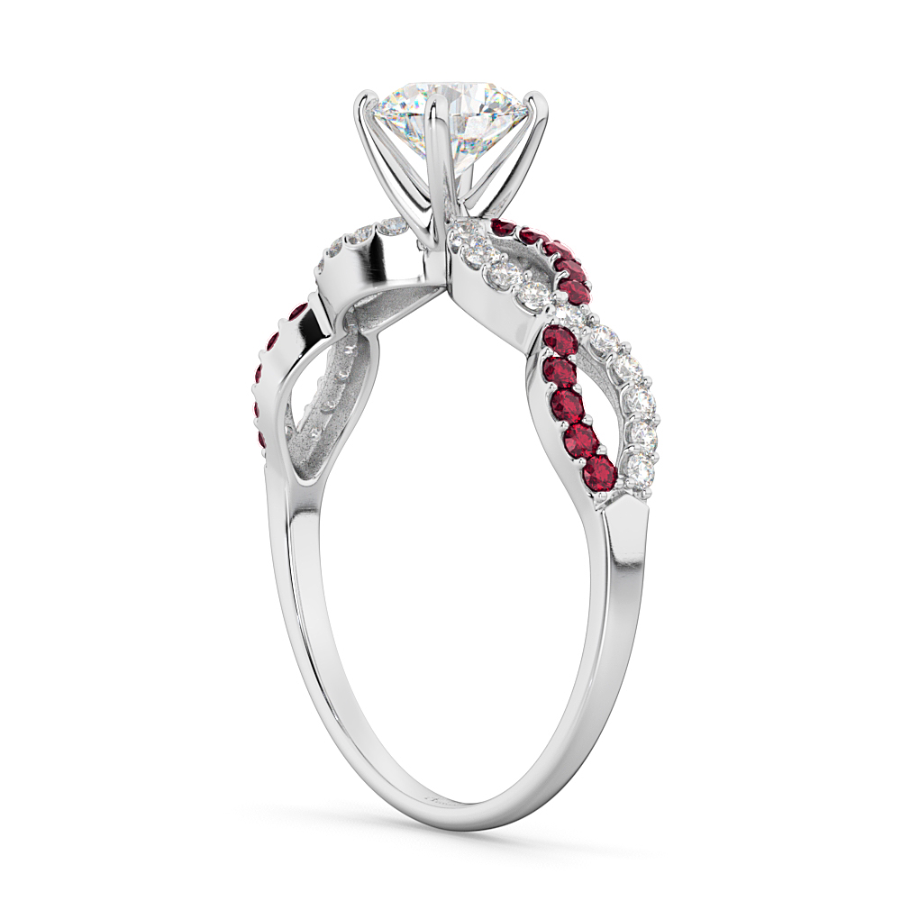 Infinity Diamond & Ruby Gemstone Engagement Ring 14K White Gold 0.21ct