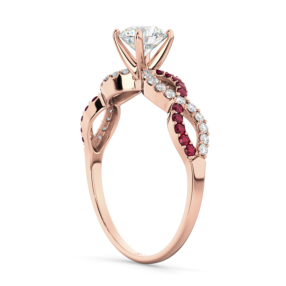 Infinity Diamond & Ruby Gemstone Engagement Ring 18k Rose Gold 0.21ct