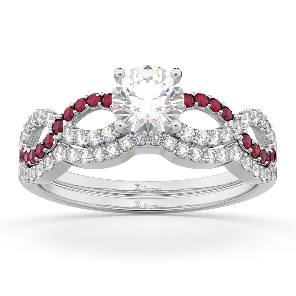 Infinity Diamond Ruby Engagement Ring Set 14K White Gold 034ct