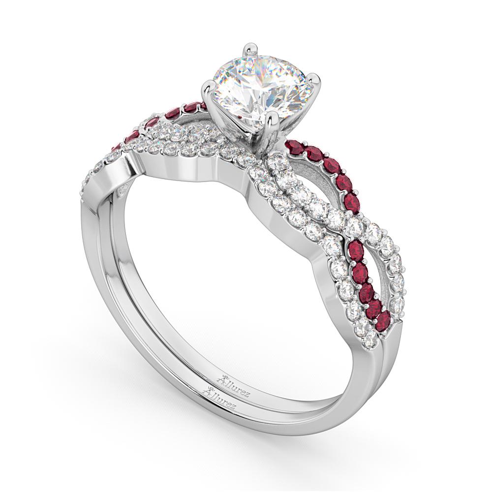 Infinity Diamond & Ruby Engagement Ring Set 14K White Gold 0.34ct
