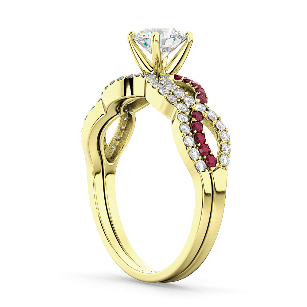 Infinity Diamond & Ruby Engagement Ring Set 14K Yellow Gold 0.34ct