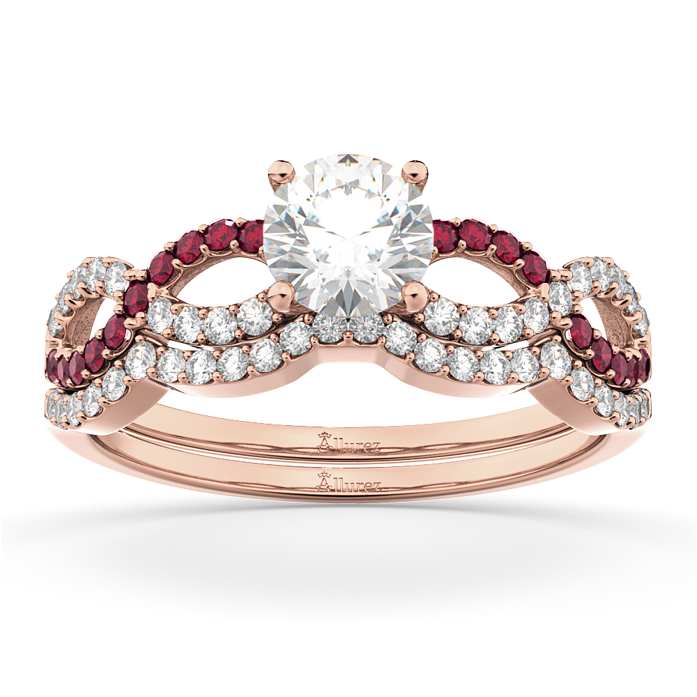 Infinity Diamond & Ruby Engagement Ring Set 18k Rose Gold 0.34ct