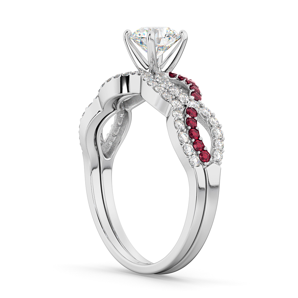 Infinity Diamond & Ruby Engagement Ring Set 18K White Gold 0.34ct