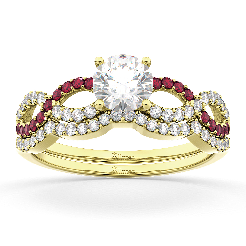 Infinity Diamond & Ruby Engagement Ring Set 18K Yellow Gold 0.34ct