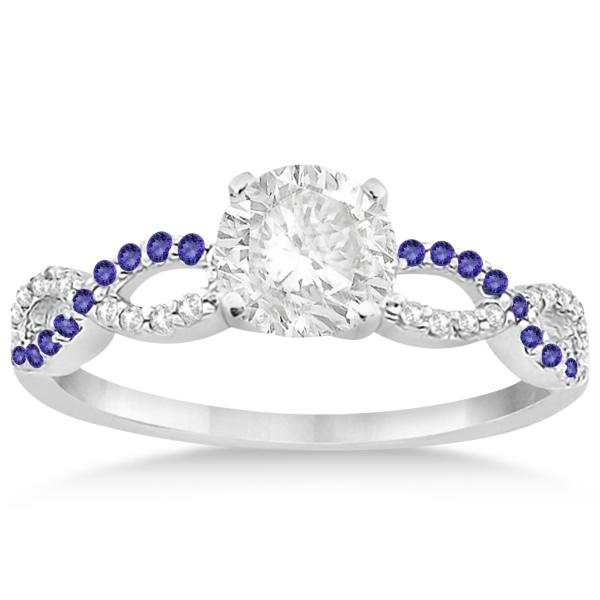 Infinity Diamond & Tanzanite Engagement Ring in 18k White Gold (0.21ct)