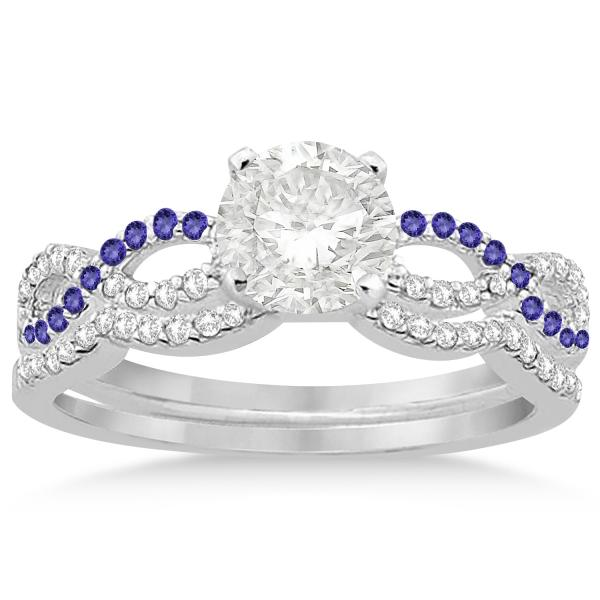 Infinity Diamond & Tanzanite Engagement Ring Set 14k White Gold 0.34ct