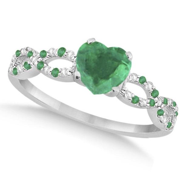 Diamond & Emerald Heart Infinity Engagement Ring 14k White Gold 1.31ct