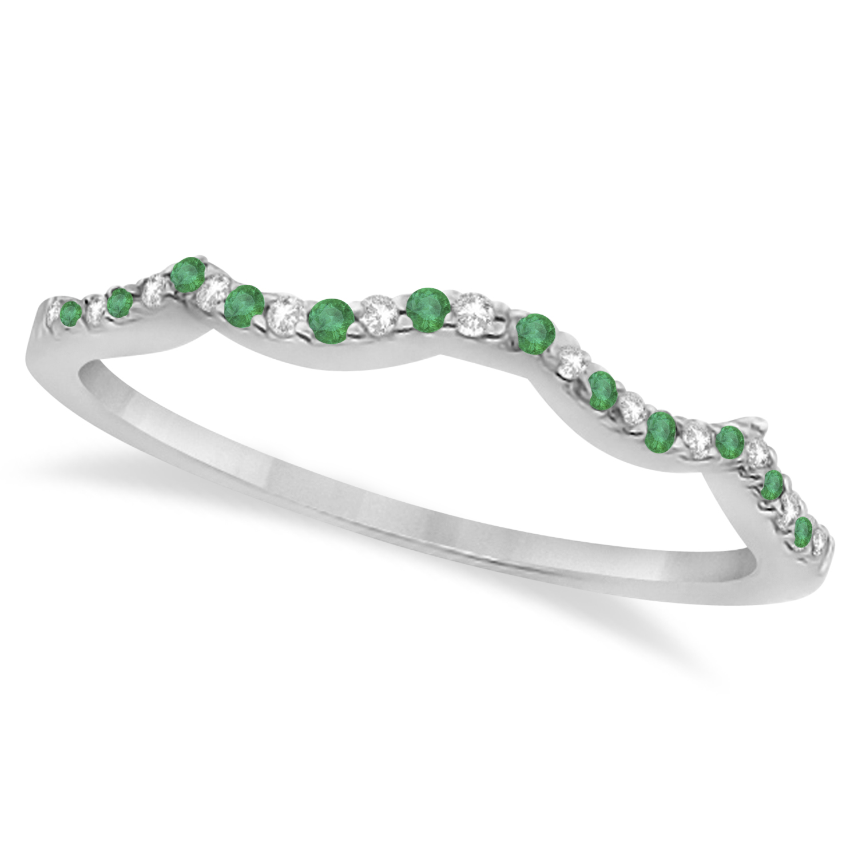 Infinity Style Emerald & Diamond Bridal Set 14k White Gold 0.85ct