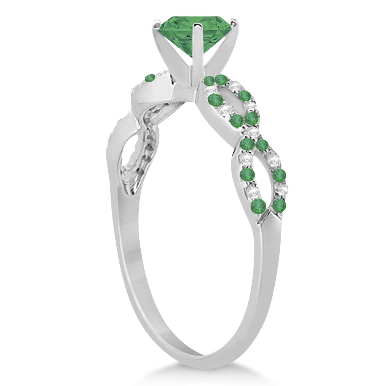 Emerald & Diamond Infinity Style Bridal Set 14k White Gold 1.25ct