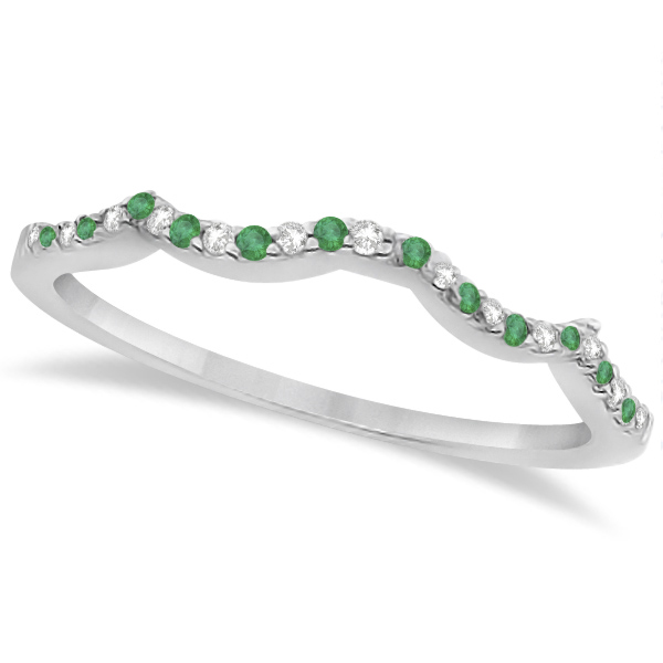 Emerald & Diamond Heart Infinity Style Bridal Set 14k W Gold 1.45ct