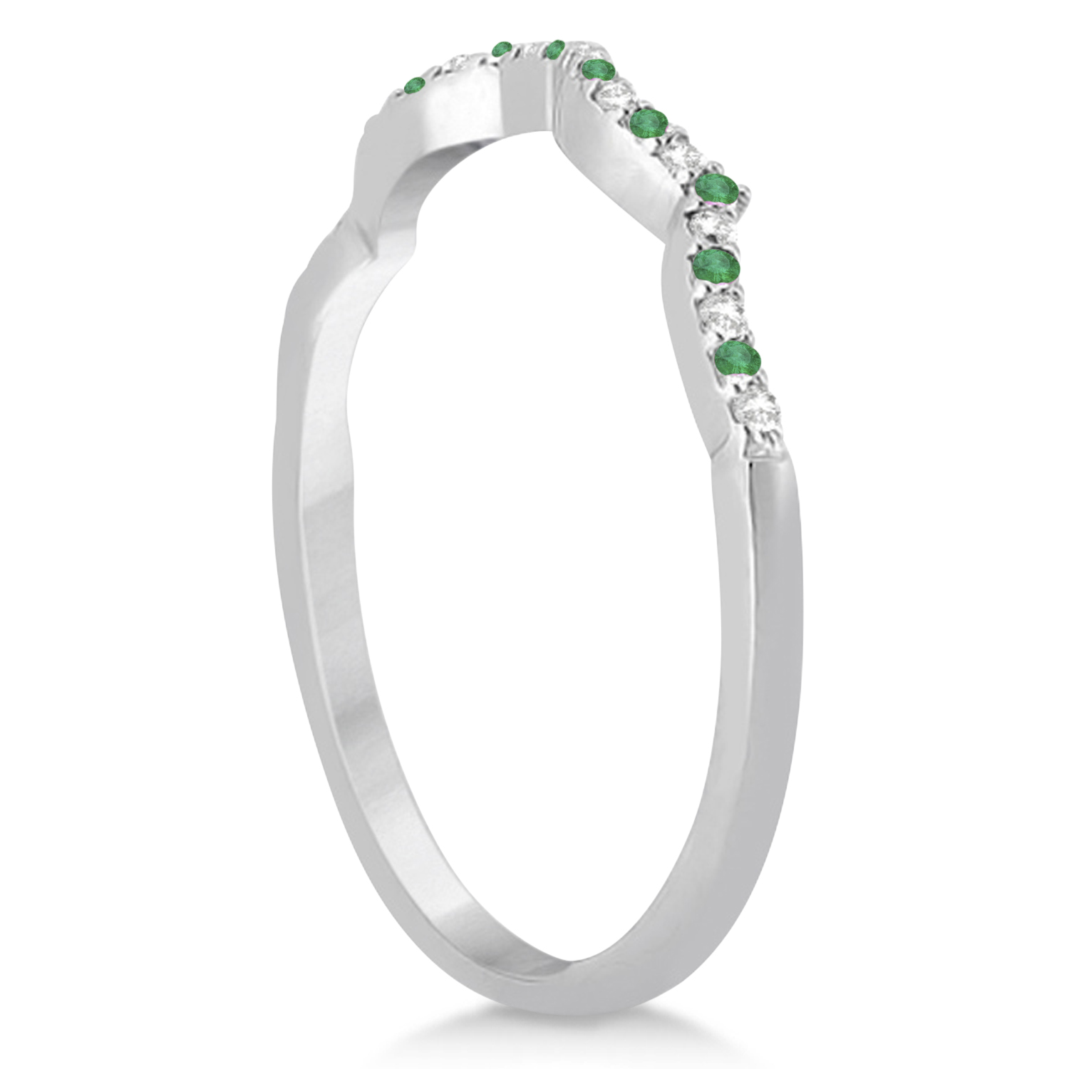 Diamond & Emerald Contour Wedding Band 14K White Gold 0.24ct